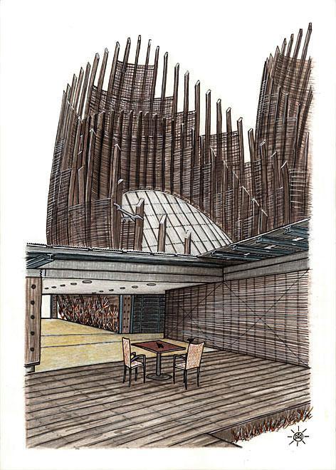 Le centre culturel tjibaou avec cordyline 1